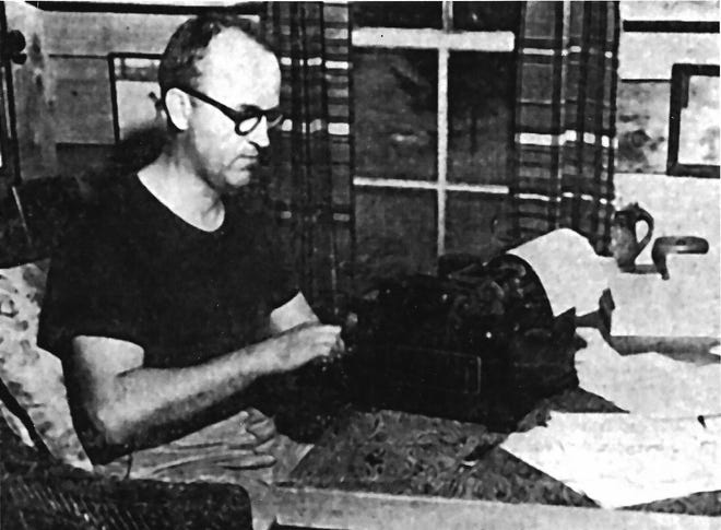 "July 1951 was quite a month for Walter D. Edmonds, author of ""Drums Along the Mohawk"" and many books about life on the old Erie and Black River canals. Not only were his novels continuing to be among the country's best sellers, his face adorned the cover of the Atlantic Monthly magazine. Here he types away in his workshop on a hilltop in a field some distance from his home – called Northlands – situated near Boonville (and north of Utica). It was in this workshop where he plotted his books and short stories which covered the lives of Americans from the Revolutionary War through World War II."