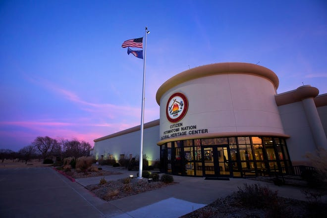 The Citizen Potawatomi Nation Cultural Heritage Center in Shawnee is seen at dusk in 2018.