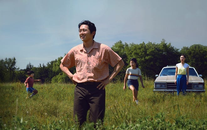 "From left, Alan S. Kim,  Steven Yeun, Noel Cho and Yeri Han are featured in a scene from the movie ""Minari,"" which filmed in Tulsa in 2019."