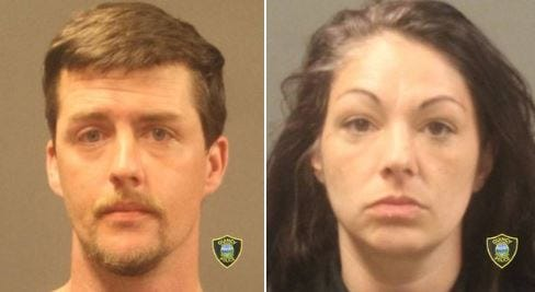Brian Kenney, 34, left, and  Angelina Kenney, 38, both of Quincy have been charged in a pair of unarmed robberies.