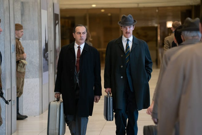 "Merab Ninidze and Benedict Cumberbatch in ""The Courier."""