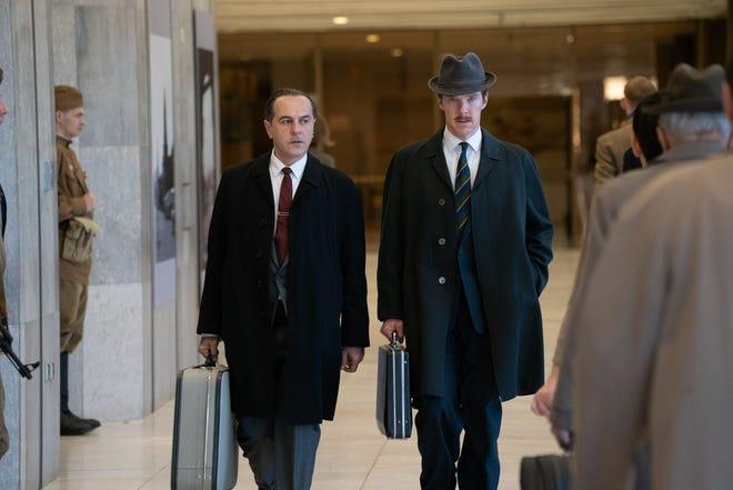 "Merab Ninidze and Benedict Cumberbatch in ""The Courier."""