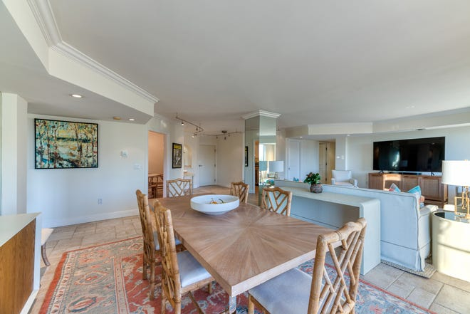 A double apartment with three bedrooms at Ocean Towers on the near North End has an open floor plan in the main rooms. The oceanview condominium, Nos. 505 and 507, is listed for sale at $2.495 million.
