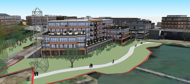 The proposed Cathartes development at 53 Green St. in Portsmouth includes a waterfront path and park.