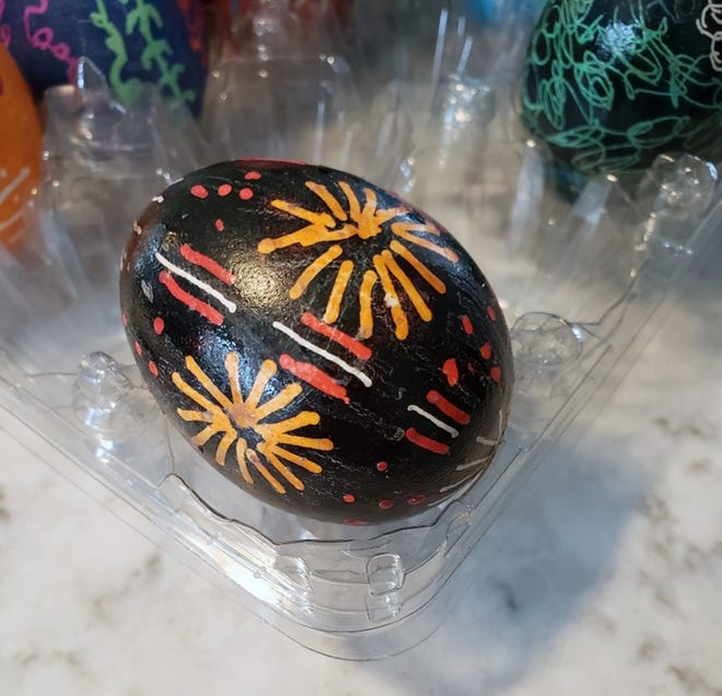 A Ukrainian pysanka egg decorated with a homemade pin-and-cork tool made by Record Managing Editor Ashley Fontones' grandmother Cathy.