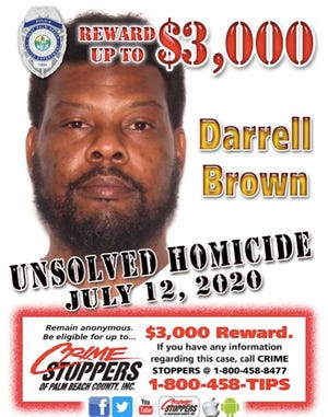 Crime Stoppers of Palm Beach County is offering a $3,000 reward for any information that leads to an arrest in the July 12, 2020, fatal shooting of Darrell Brown in West Palm Beach.