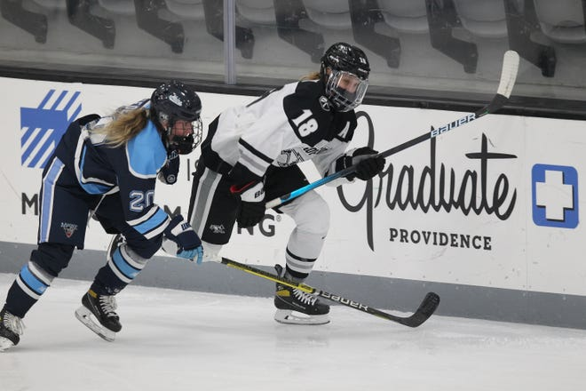 Providence's Ariane Julien skates in a March 3 Hockey East semifinal game against Maine. The Friars will play in the national tournament this week in Erie, Pa.