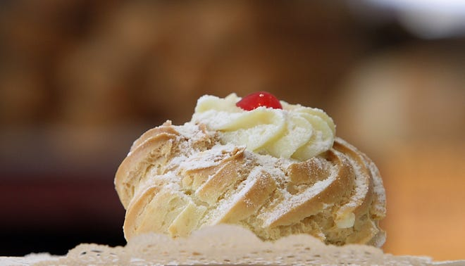 A zeppole at DeLuise Bakery in Providence, an 80-plus year old establishment..