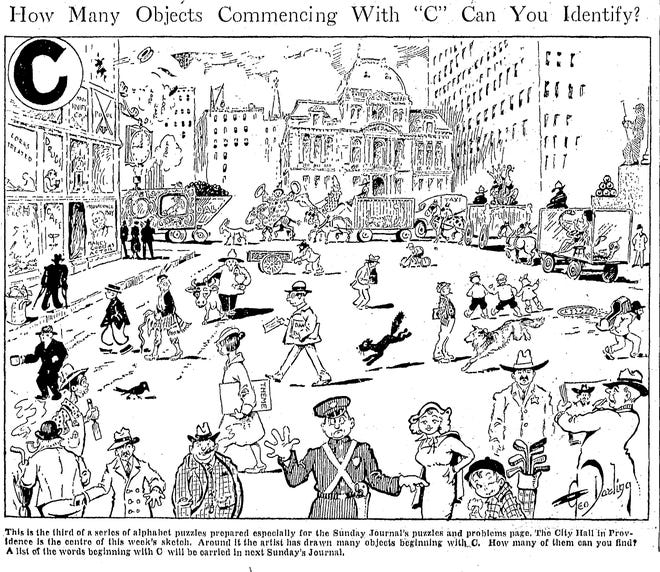 Test your powers of observation with this 1936 alphabet puzzle from the Sunday Journal.