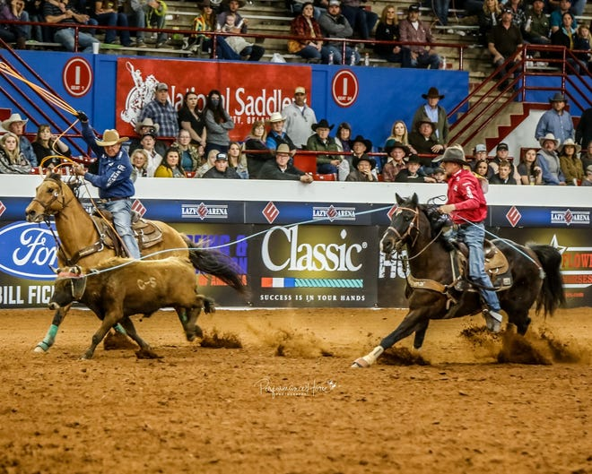 Stephenville's Kory Koontz and Manny Egusquiza Jr. roped six steers in 46.48 seconds to earn $150,000 cash plus epic prizes on Sunday at the Wrangler Bob Feist Invitational (BFI) in Guthrie, Oklahoma.