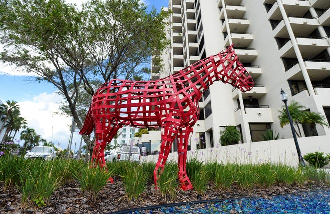 """David Langley's """"Mr. Red,"""" at Cocoanut and Gulfstream avenues, is part of Sarasota's public art collection."""