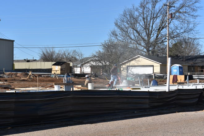 Construction is ongoing for a car wash at the southwest corner of Kickapoo and Penny.