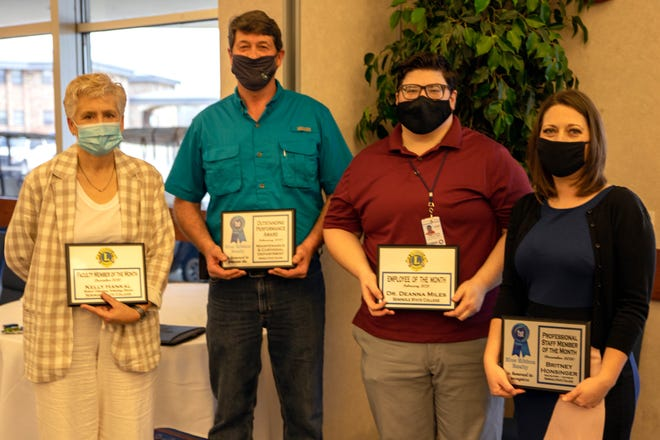 The Seminole Chamber of Commerce honored three of Seminole State College's employees and one of its departments at the Chamber Forum on March 11. Pictured (l-r) MLT Program Director and Assistant Professor Kelly Hankal, December Faculty Member of the Month; Director of Physical Plant and Campus Safety Ed Lemmings, accepted the February Department of the Month award on behalf of the Maintenance/Custodial staff; COVID-19 Officer and STEM Assistant Professor Dr. Deanna Miles, February Employee of the Month; and Recruitment Specialist Britney Honsinger, December Professional Staff Member of the Month.