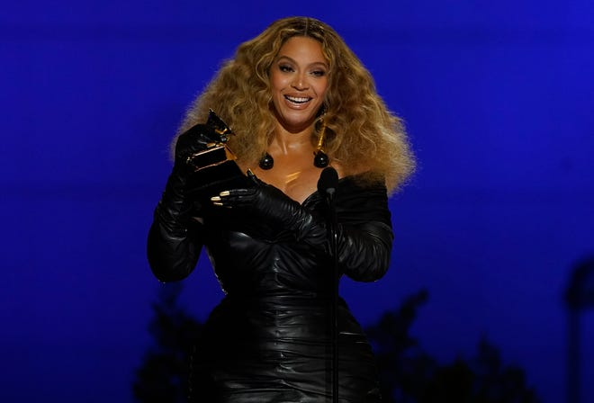 """Beyonce accepts the award for best R&B performance for """"Black Parade"""" at the 63rd annual Grammy Awards at the Los Angeles Convention Center on Sunday, March 14, 2021."""