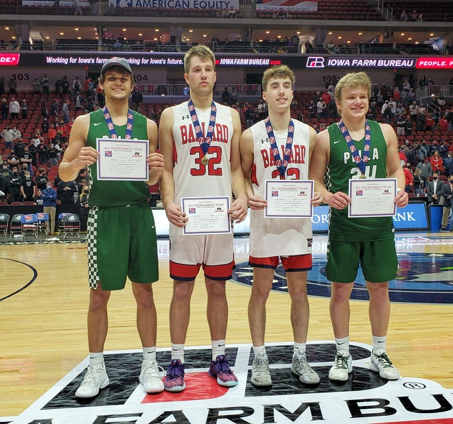 Ballard's Connor Drew (32) and Ashton Hermann (22) were both named to the Class 3A all-tournament team at the boys' state basketball tournament last week in Des Moines. Also selected were Pella's Karl Miller (left) and Grant Nelson (right) and Davenport Assumption's Emarion Ellis (not pictured). Nelson was named the team captain.