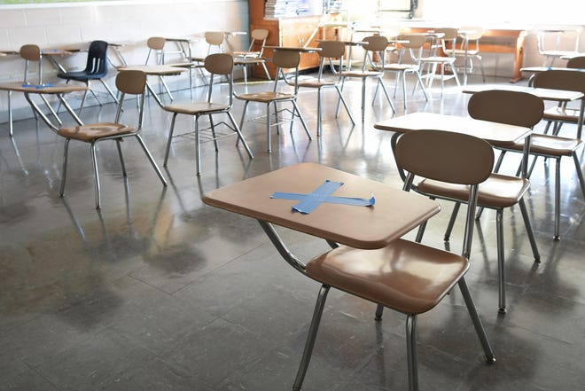 Classrooms set up for social distancing at Burncoat High School.