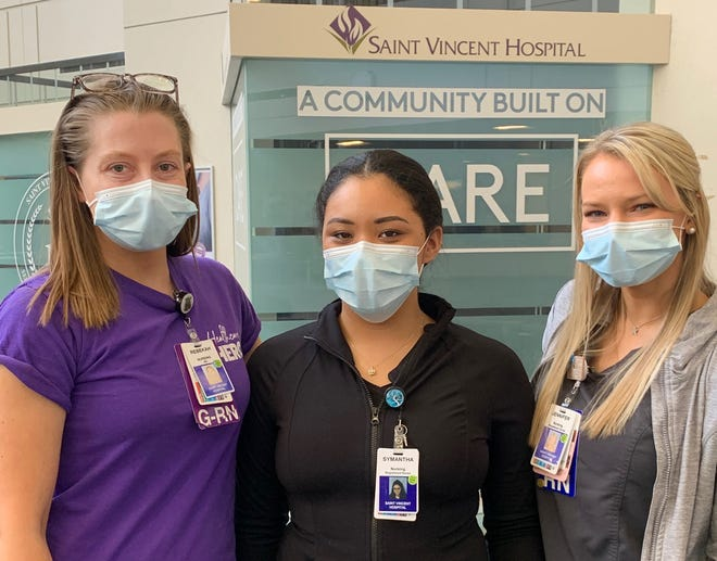 From left, Rebekah Pack, Symantha Gervais and Jennifer Porter, nurses at St. Vincent Hospital who are crossing the picket line.