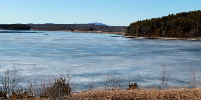 The Wachusett Reservoir (here near the dam in Clinton) is hovering between winter and spring as the ice begins to melt.