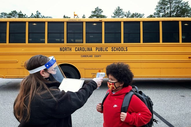 Students returning to schools in Cumberland County had their temperatures checked before they were allowed to go inside the school buildings.