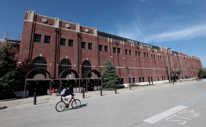 In this photo taken on March 30, 2010, Hinkle Fieldhouse is shown on the Butler University campus in Indianapolis.
