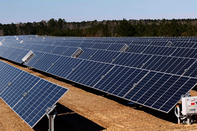 A 540-acre site solar project, built as part of a joint venture involving Origis Energy, is shown near Sumrall, Miss.