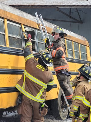 Firefighters from several departments participated in school bus extrication training Saturday at Ballplay Bend Fire Department.