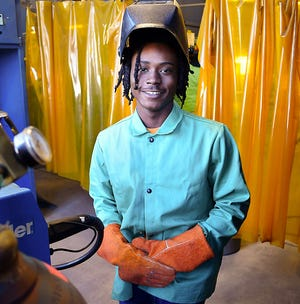 Jarahdre Jackson is a welding student in Gadsden State Community College's Skills Training Division.