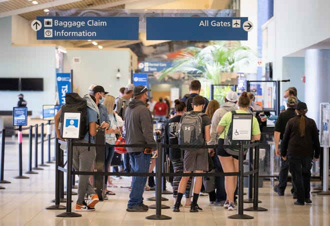 Long lines were the norm as crowds of people arrived and departed from the Northwest Florida Beaches International Airport this Spring Break.