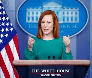 Sekretaris pers Gedung Putih Jen Psaki berbicara selama konferensi pers di Gedung Putih, Senin, 15 Maret 2021, di Washington.