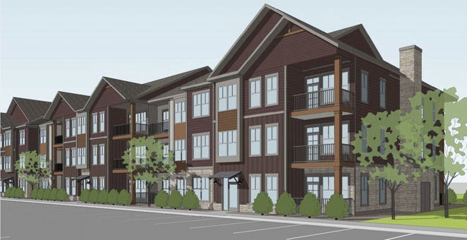 Watermark Residential's conceptual drawings of a proposed 300-apartment project on an undeveloped tract that runs from Spaulding Lane south to East Willox Lane.