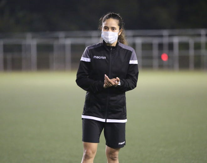 Anjelica Perez addresses Guam U17 Women's National Team players ahead of a recent training session at the Guam Football Association National Training Center. Perez, also captain of the Masakåda, Guam Women's National Team, was appointed as Head Coach of the team earlier this year. The team is committed to compete at the AFC U17 Women's Asian Cup Qualification Round in September.