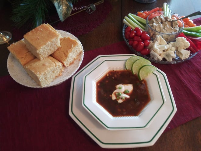 Cuban Black Bean Soup served with vegan cornbread is a favorite of Sunde's and is on her menu every Christmas Eve — even the carnivores in her family love it.