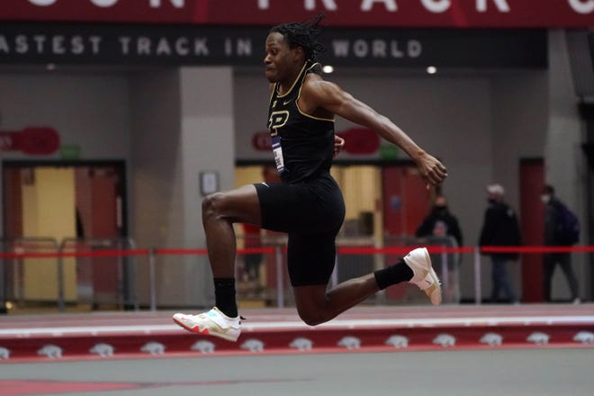 Mar 13, 2021; Fayetteville, Arkansas, USA; Tamar Greene of Purdue places seventh in the triple jump at 53-5 (16.28m) during the NCAA Indoor Track and Field Championships at the Randal Tyson Center. Mandatory Credit: Kirby Lee-USA TODAY Sports