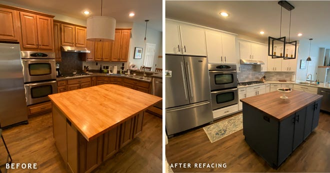 Before and after shots of a kitchen revamp are shown. Howell resident Melanie Wolfe recently launched a new Kitchen Tune-up franchise covering the Howell and Brighton areas.