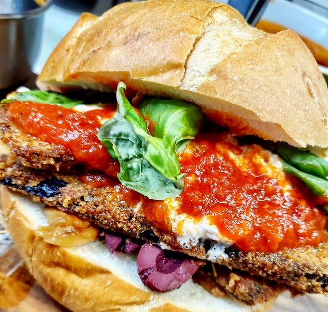 The new Meat & Co., popping up at the Dubbel Dutch hotel downtown March 18 to 20, will have vegetarian and vegan sandwiches, too, such as this breaded eggplant with pomodoro sauce.