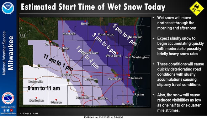 Snow is expected to overspread southeast Wisconsin from southwest to northeast during the day and into the evening on Monday.