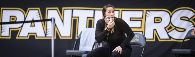 UW-Milwaukee Panthers head coach Kyle Rechlicz watches her team play in a game earlier this season against Youngstown State on March 2.