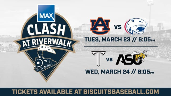 The home of the Montgomery Biscuits will welcome college baseball back on March 23 and 24 for the MAX Clash at Riverwalk.