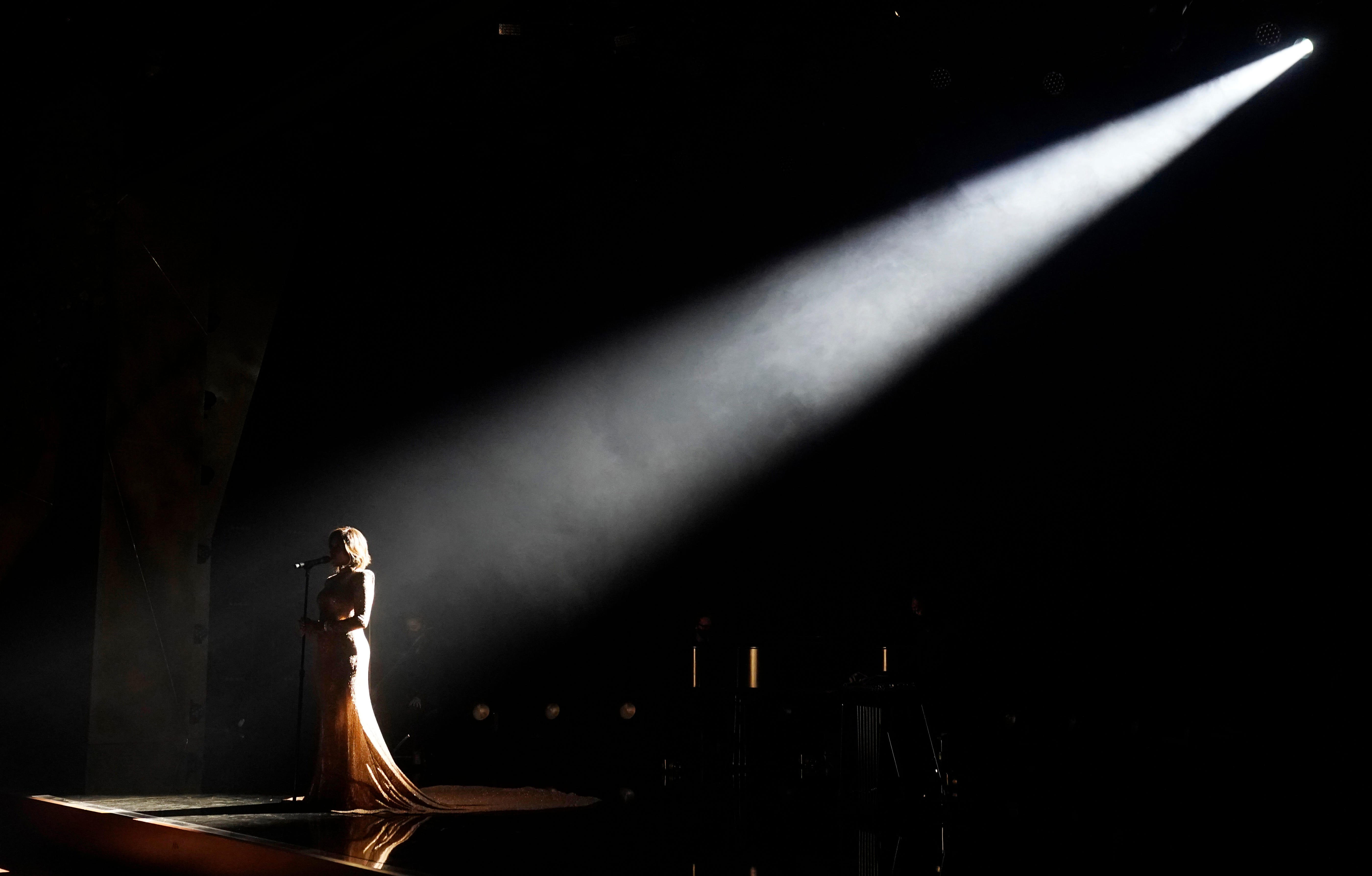 """Mickey Guyton performs """"Black Like Me"""" at the 63rd Grammy Awards on March 9, 2021."""