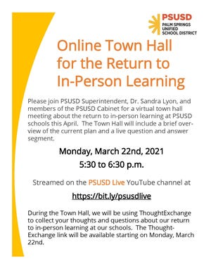 A poster for online town hall for return to in-person learning.