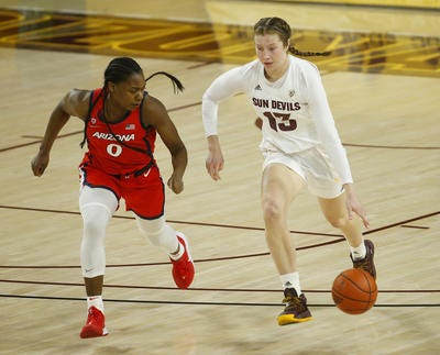Maggie Besselink (13) and her ASU women's basketball teammates will play in the WNIT starting on Friday.