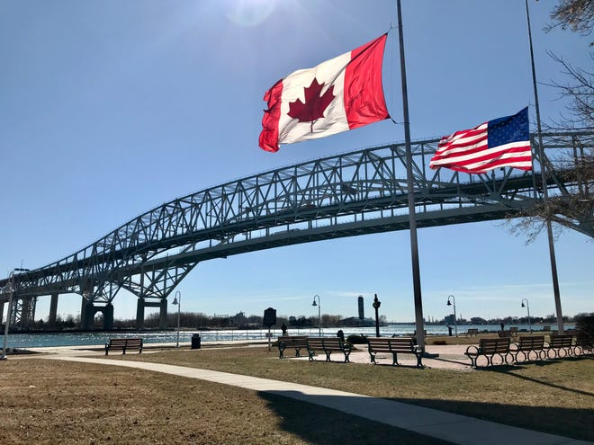 The Blue Water Bridge connecting Canada and Michigan on March 12, 2021.