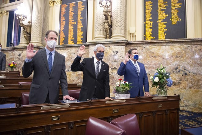 Democrats Rep. Mark Longietti (left) and Rep. Chris Sainato (center) topped the list of reimbursements in the House.