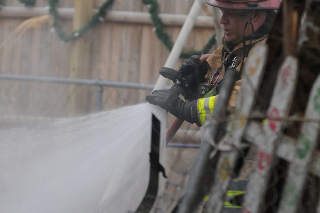 Richmond Fire Department extinguished a shed fire Monday, March 15, 2021, in the 500 block of South 13th Street.