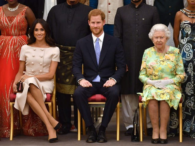Duchess Meghan and Prince Harry (from left) spoke fondly of Queen Elizabeth II (right) during their Oprah Winfrey interview. But their allegations of racism and lack of support within the palace put the monarchy in crisis mode.