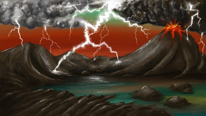 An artist's rendition of the early Earth environment. Lightning generated by storms and volcanic plumes frequently strikes volcanic rocks. The lightning strikes create fulgurites which contain phosphorus in a form that can be dissolved in water and concentrate in waters like volcanic ponds. Here, the phosphorus is able to form biomolecules which help lead to the emergence of life.