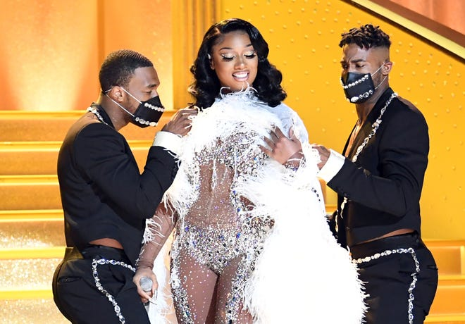 Megan Thee Stallion performs during the 63rd Grammys   broadcast on March 14, 2021.