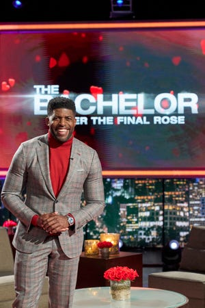 "Emmanuel Acho steps in for ""Bachelor"" host Chris Harrison during the ""After The Final Rose"" special."