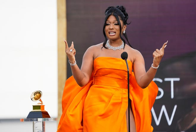 Megan Thee Stallion accepts the award for best new artist at the 63rd annual Grammy Awards at the Los Angeles Convention Center.