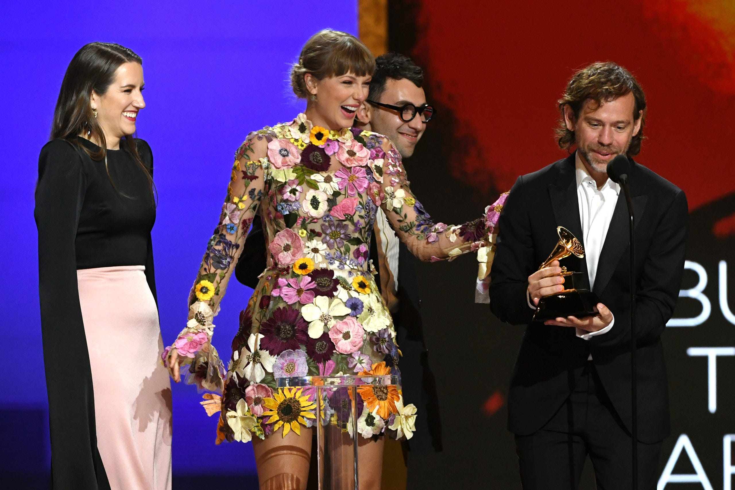 (L-R) Laura Sisk, Taylor Swift, Jack Antonoff, and Aaron Dessner accept the Album of the Year award for 'Folklore' onstage during the 63rd Annual GRAMMY Awards on March 14, 2021 in Los Angeles, California.